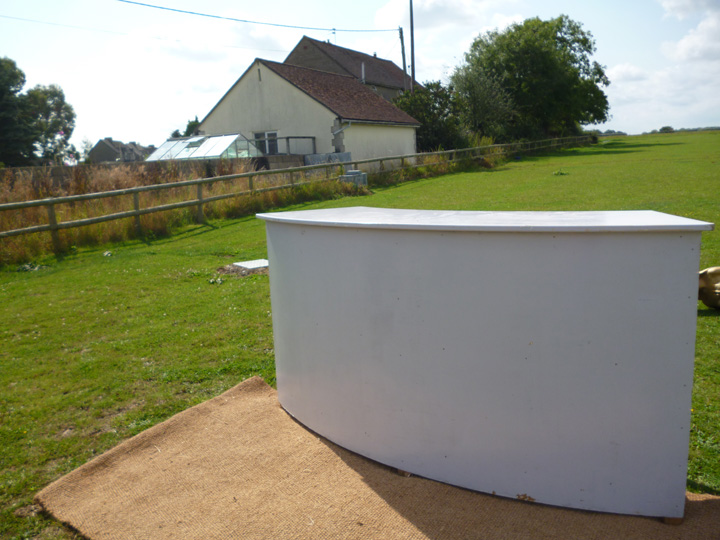 Marquee furniture hire - Semi-circular bar, three available which can be joined together to increase bar length