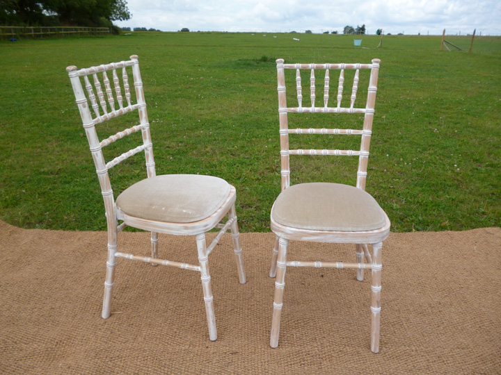 Marquee furniture hire - Lime wash chairs with ivory seat pad, green seat pad also available