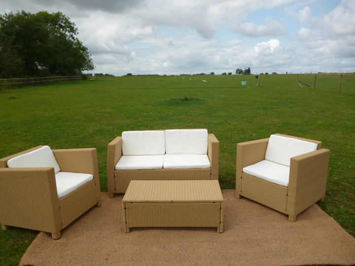 Marquee furniture hire - Rattan Furniture, 2 seater sofa and chairs, coffee table