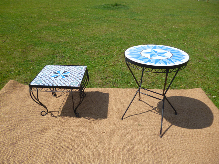 Marquee furniture hire - Patterned glass top tables, available in circular and square