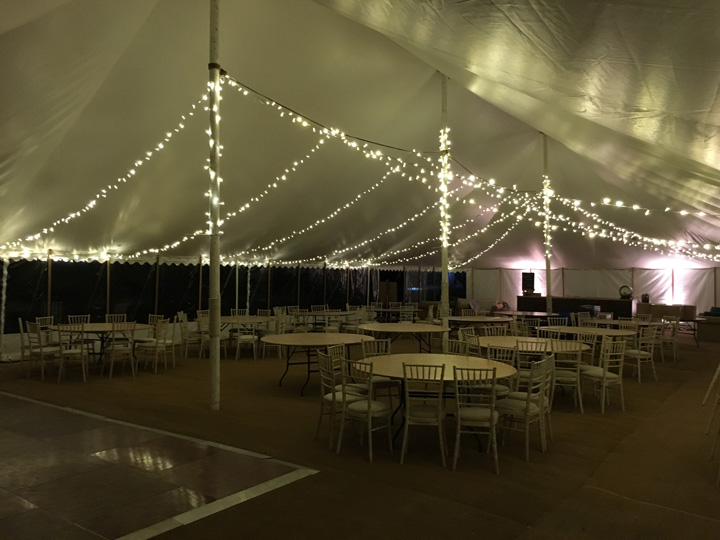 Marquees with fairy lights