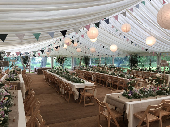 Stunning marquee interiors by Malmesbury Marquees