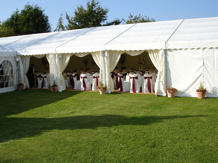 Open sided wedding marquee for hire from Malmesbury Marquees